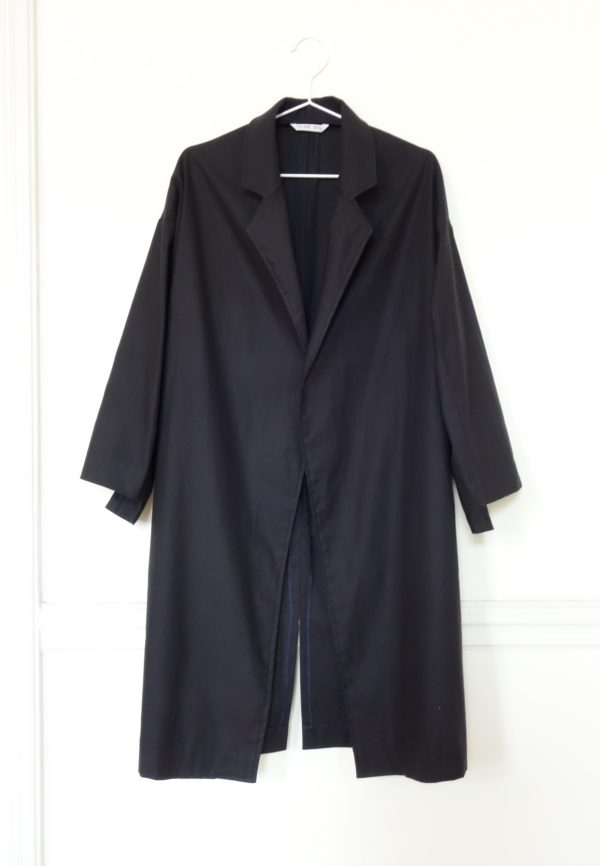 0010 Coat Pockets - Organic Cotton Twill_Black - 1 front
