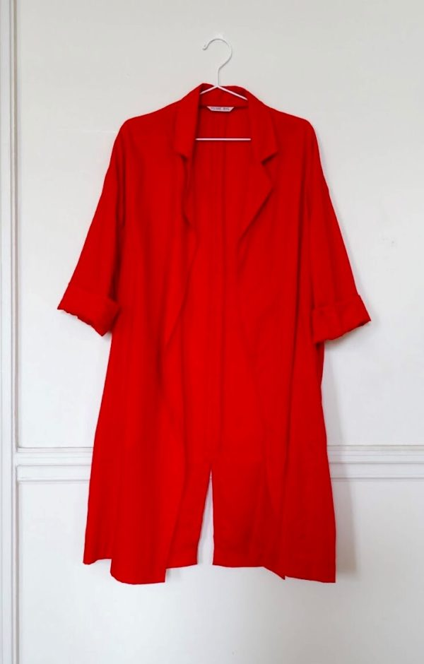 0010 Coat Pockets - Tencel_Red- 2 front_sleeves up
