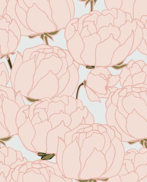 Pivoine Powder Wallpaper