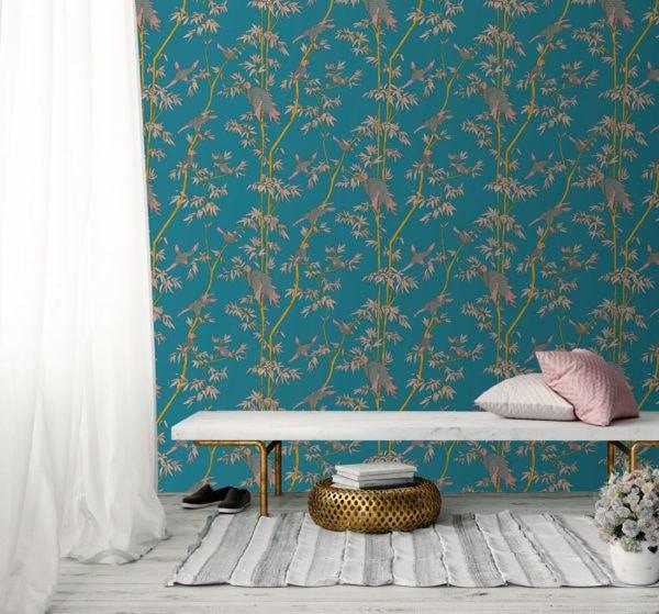 Ylang Ylang Turquoise Wallpaper