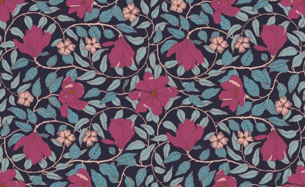 Magnolia Charcoal Wallpaper