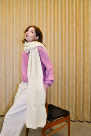 Marianne Winten knitwear designer BOUNCY off white on model