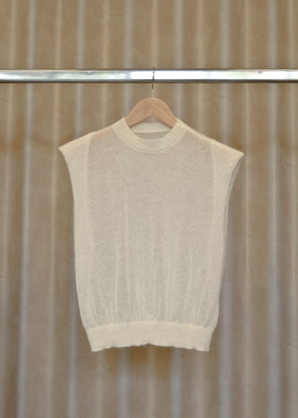 front view of pullover LUCY in white on a hanger