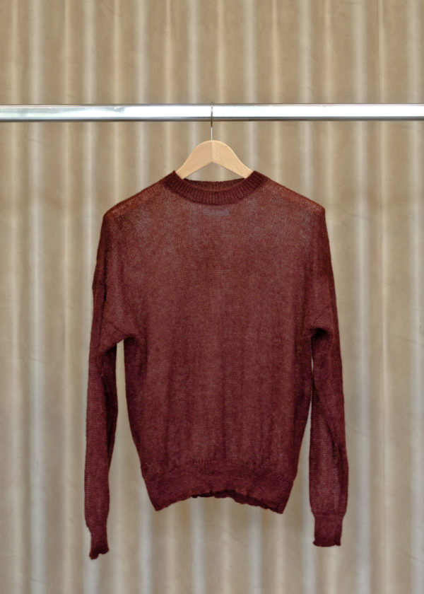 front view of LUCY sweater in chestnut on a hanger