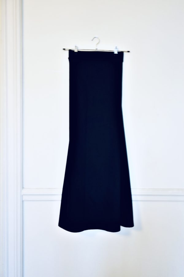 0111 Skirt Long Cotton Twill_Black-front