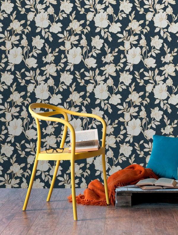 Borage Charcoal Wallpaper