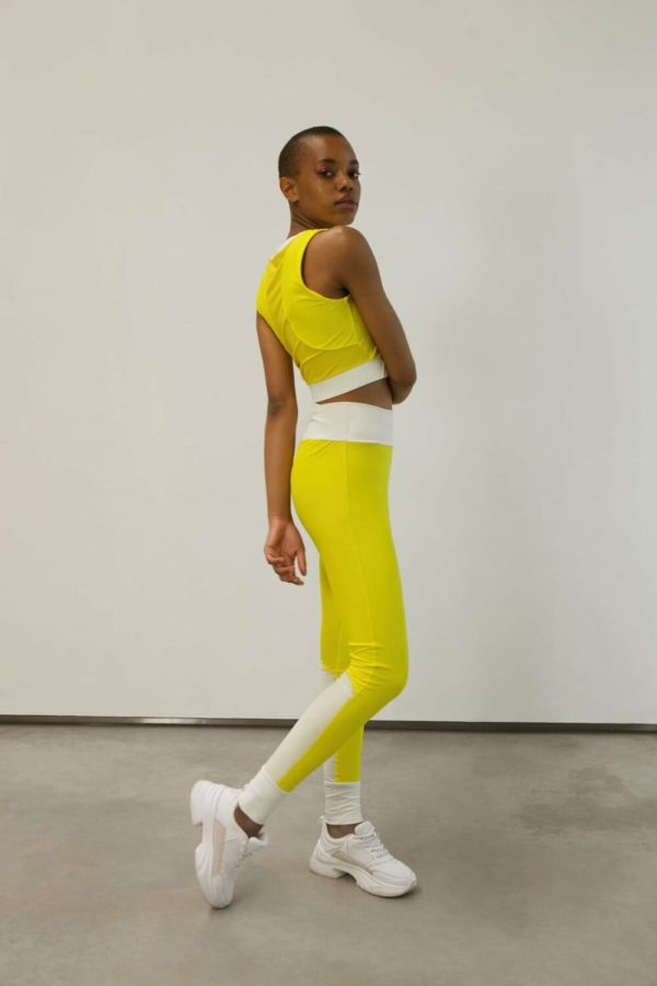 high waist tights energetic yellow - ivory