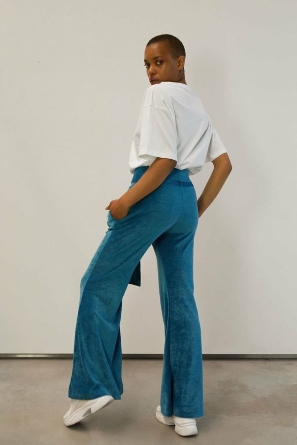 velours flared trousers blue
