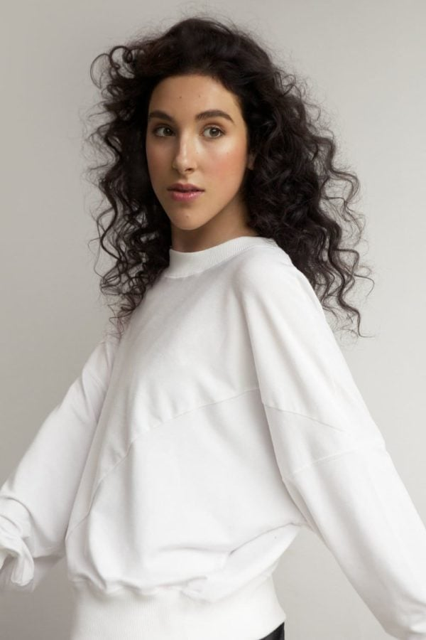 wide-sleeve jumper white