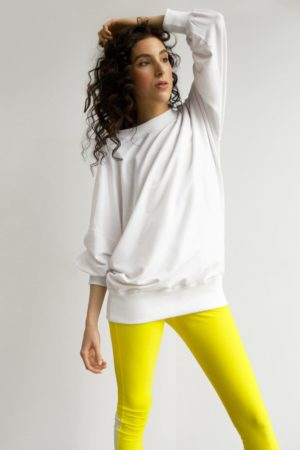 wide-sleeve long jumper white