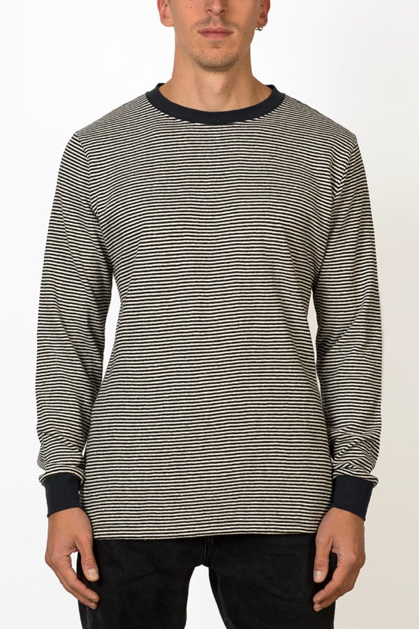 black and white striped long sleeve T-shirt on male model