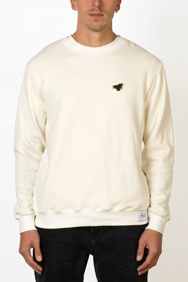 crewneck sweater with pin on male