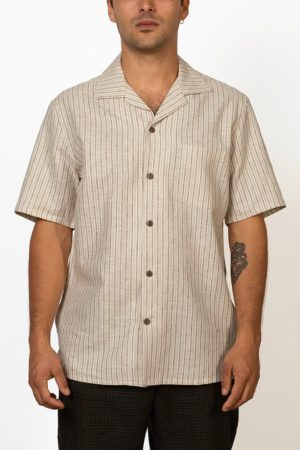 ornament hemp and organic cotton short sleeve shirt on male