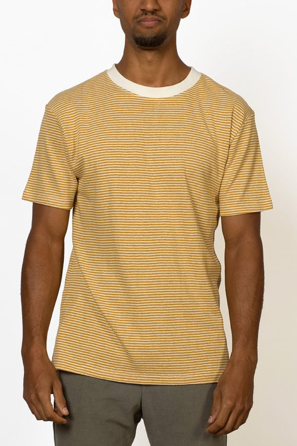 rays of the sun striped hemp T-shirt with yellow stripes on male model