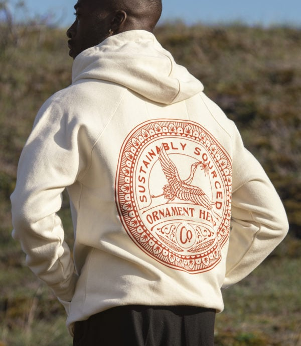 ornament hemp and bamboo hoodie with crane print on back