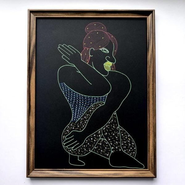 silhouette femme colorée sur fond noir