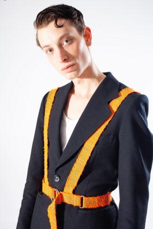 harnais tissé orange porté upcycling mdcdo